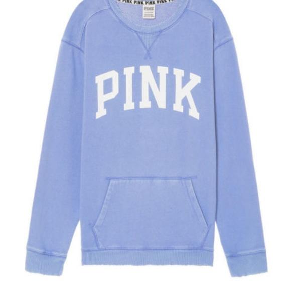 PINK Victoria/'s Secret Blue Distressed Sweatshirt Size Small